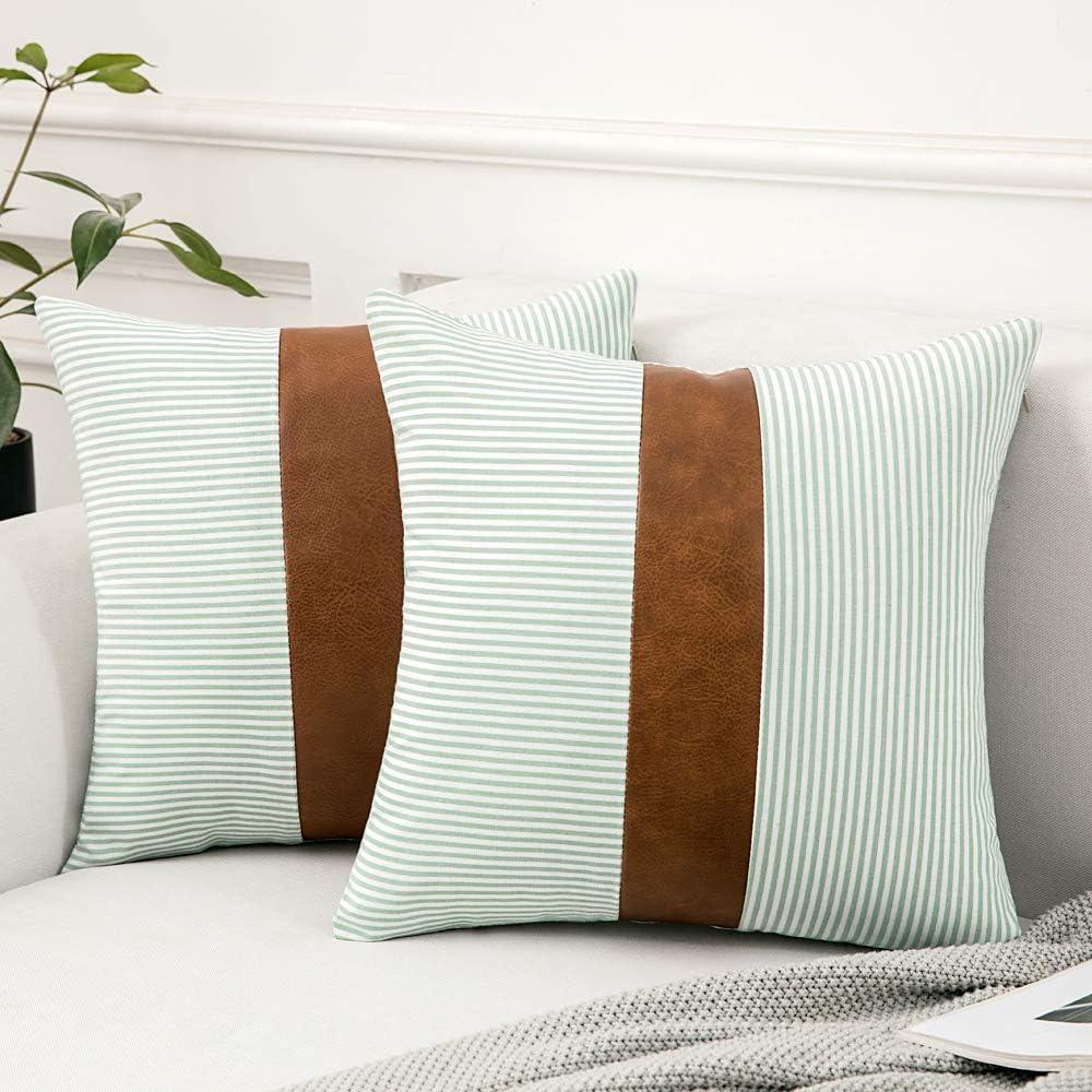 MIULEE 2 Unidades Fundas de Cojín para Sofá Compuesto de Cuero Almohada con Diseño de Rayas Cómoda Moderna Decoración para Habitacion Comedor Cama Dormitorio Oficina Hogar salón 45 x 45cm Azul Verde
