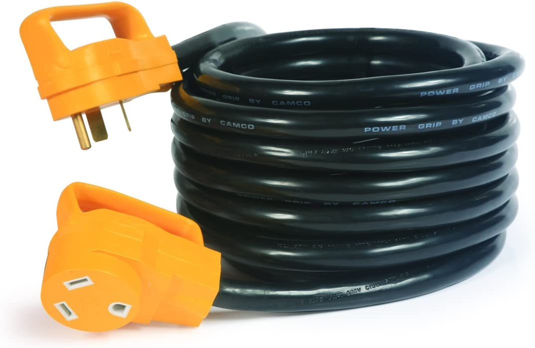 Camco (55191) 25' PowerGrip Heavy-Duty Outdoor 30-Amp Extension Cord for RV and Auto | Allows for Additional Length to Reach Distant Power Outlets | Built to Last: Automotive