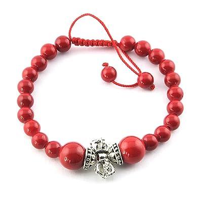 Mes-Bijoux-Bracelets Bracelet charms et perle Cadeau femme Bijou fantaisie  perle Vajra Rouge 52ad158a61fd