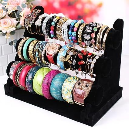 Amazoncom Elife Black Velvet 3 Tier Detachable TBar Jewelry