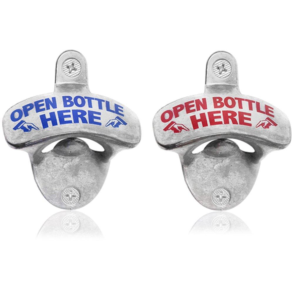 com-four/® 2 Flaschen/öffner Cheers aus Zinklegierung f/ür die Wand Bier/öffner mit Wandmontage Cheers - 02 St/ück 8 x 6,5 cm