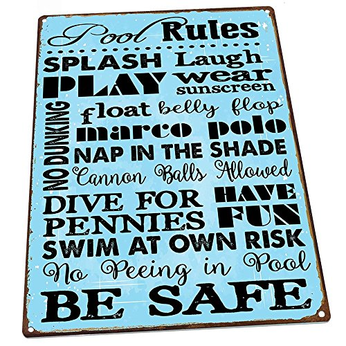 Pool Rules Metal Sign, Motivational Rules, Swimming Pool Sign, Positive Thinking, Modern Decor by HBA