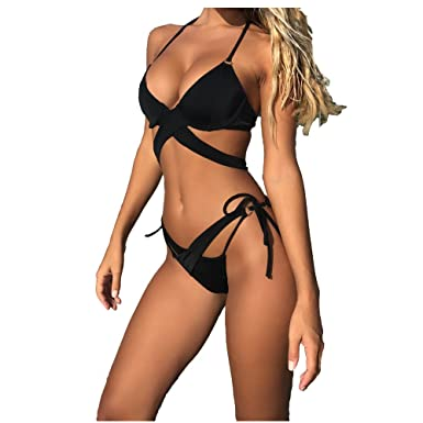 d995535f557 Amazon.com: Womens Sexy Solid Cross Bandage Bikini Set Padded Push-up  Bathing Suits Two Pieces Swimsuit: Clothing