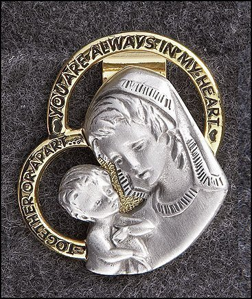 You Always Have My Heart 1 7/8 Inch Silver Tone Madonna and Child Travel Protection Visor Clip ()