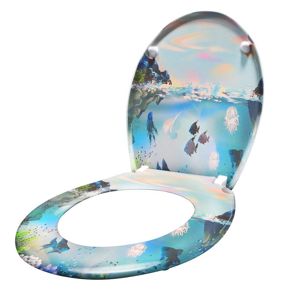 Hengmei Abattant WC Frein de Chute avec syst/ème Soft Close Charni/ères Robustes Finition de Haute qualit/é Fixation Facile plage