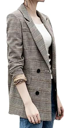1472127a MOUTEN Women Mid Length Double Breasted Classic Work Office Checkered  Blazer Jacket Coat 1 XXS