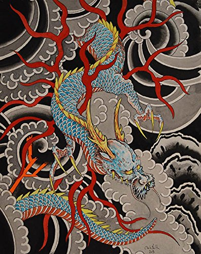 Sky Dragon by Clark North w/ Antlers Asian Japanese Tattoo