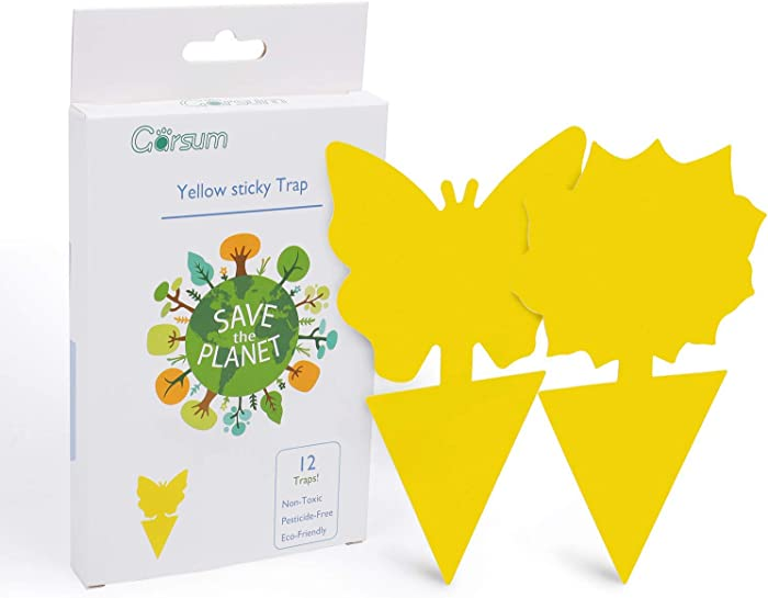 Garsum Sticky Trap,Fruit Fly and Gnat Trap Yellow Sticky Bug Traps for Indoor/Outdoor Use - Insect Catcher for White Flies,Mosquitos,Fungus Gnats,Flying Insects - Disposable Glue Trappers (12 pcs)