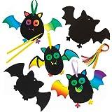 Baker Ross Decorazioni Scratch Art Pipistrelli ( Pacco da 10 ) Lavoretti creativi per Bambini per Halloween.