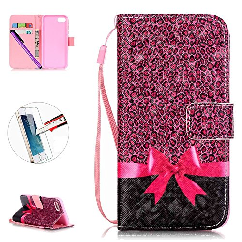 - iPhone 7 Case, ISADENSER [Card Slot] Stand Leather Wallet Case Folio Flip Case with Strap for iPhone 7 + 1pcs Tempered Glass Screen + 1pcs Stylus Pen (P Bow Box)