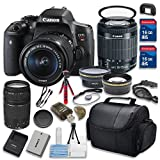 Canon EOS Rebel T6i 24.2MP WiFi Enabled Digital SLR Camera w/ EF-S 18-55mm f/3.5-5.6 IS STM & Canon EF 75-300mm f/4-5.6 III Telephoto Zoom Lens Bundle w/ 15pc Accessory Kit - International Version