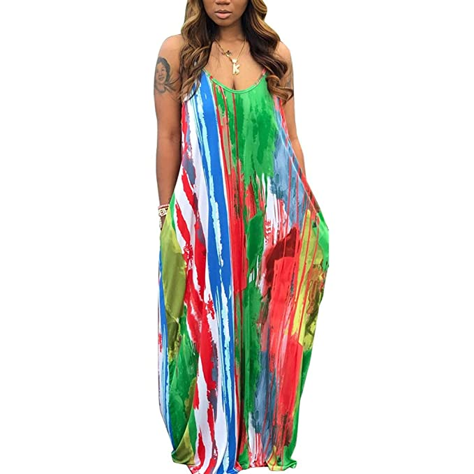 WOOSEN Womens Summer Suspender Maxi Dress Plus Size Striped Printed  Sleeveless with Pockets and Belt