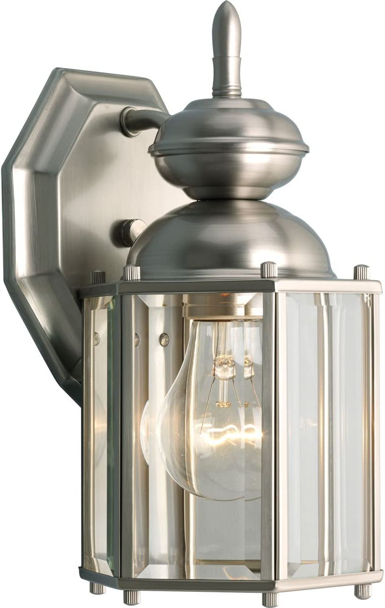 Progress Lighting P5756-09 Wall Lantern with Beveled Glass Panels Open Bottom, Brushed Nickel