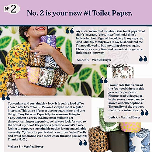 No. 2 - Bamboo Toilet Paper, 24 Tree- Free Rolls in keeping with Carton, Strong and Silky 3-Ply Bathroom Tissue, Individually Wrapped in Recycled Paper with Colorful Prints, Biodegradable TP