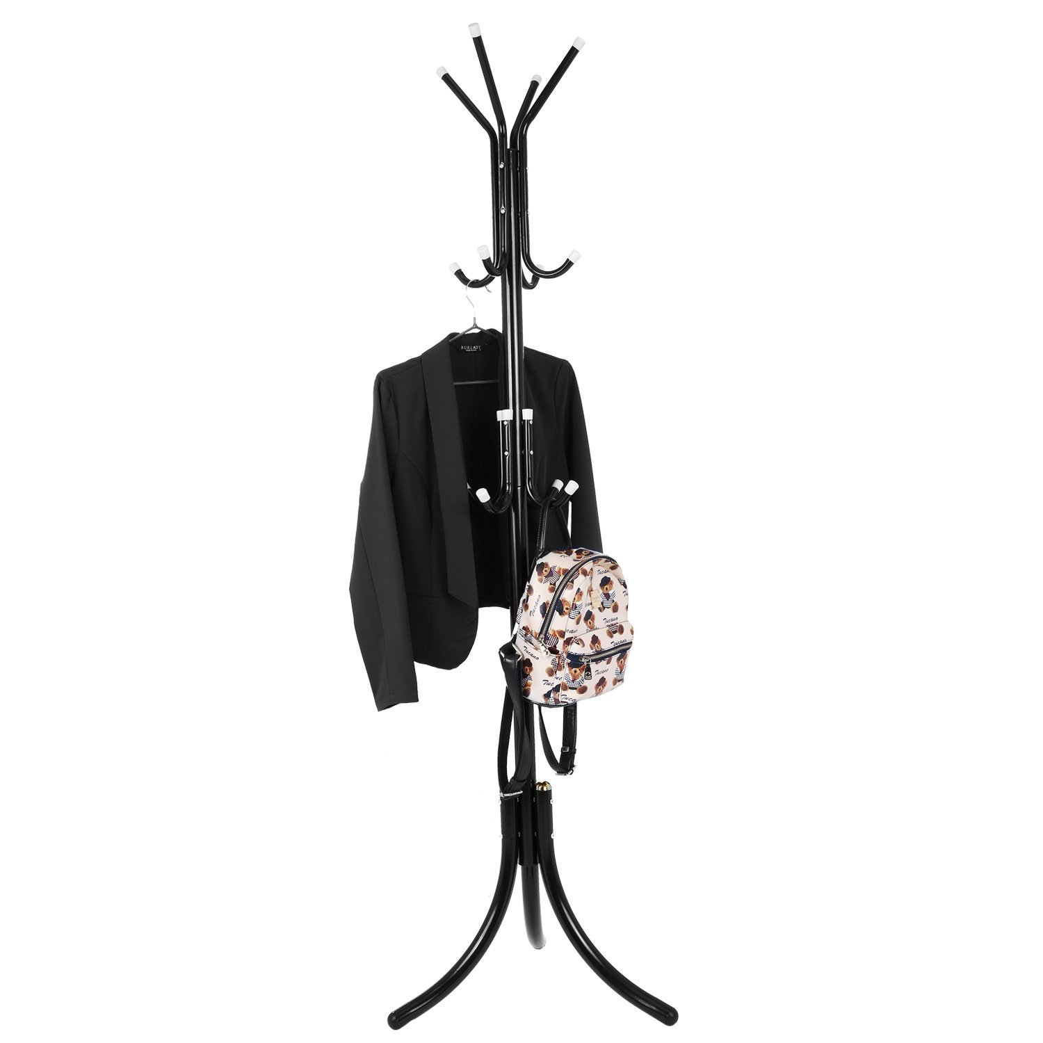 Benlet Entryway Free Standing 12-Hook Metal Hall Tree Coat Hat Rack Tree Stand Jacket Purse Umbrella Hanger with Tripod Base for Home Office Small Place(US Stock) (Black)