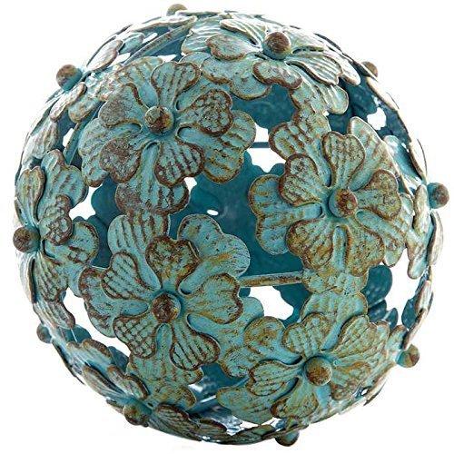 Decorative Balls Glass (Antique Blue Metal Flower Decorative Sphere)