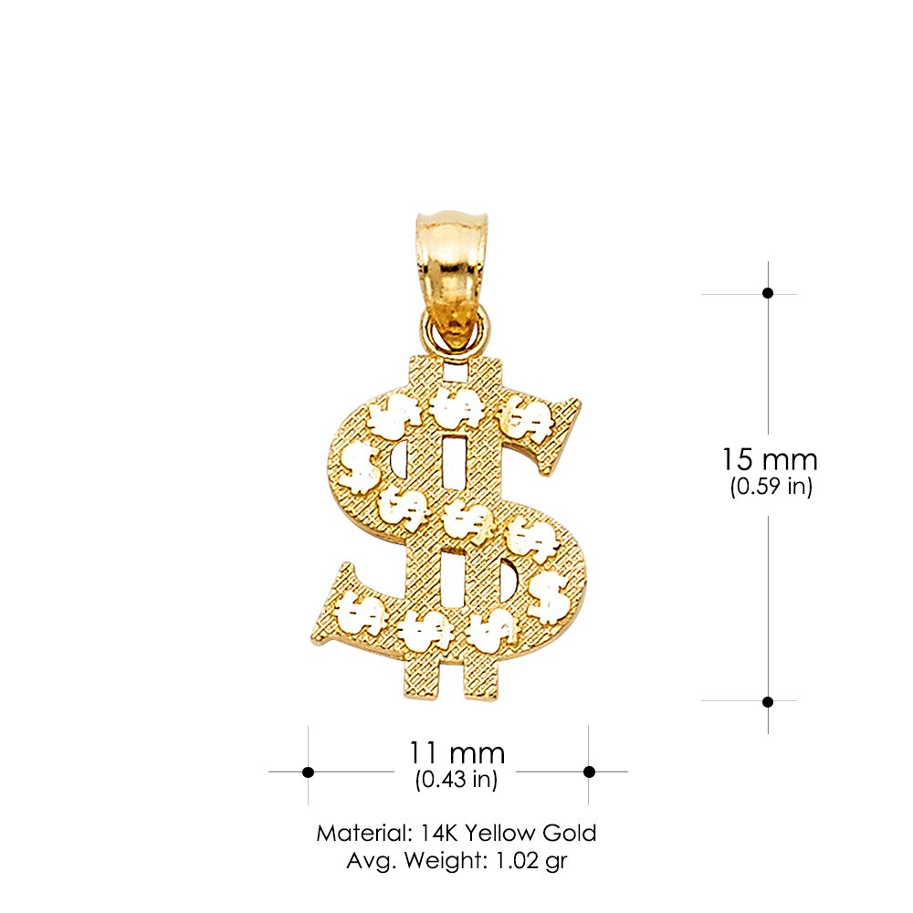 14K Yellow Gold Dollar Sign Charm Pendant with 0.8mm Box Chain Necklace