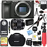 Sony ILCE-6500 a6500 4K Mirrorless Camera with 10-18mm Wide-Angle Zoom Lens + 64GB SDXC Memory Card + Carrying Case + 62mm Filter Kit + NP-FW50 Battery + Card Reader + Tripod+More