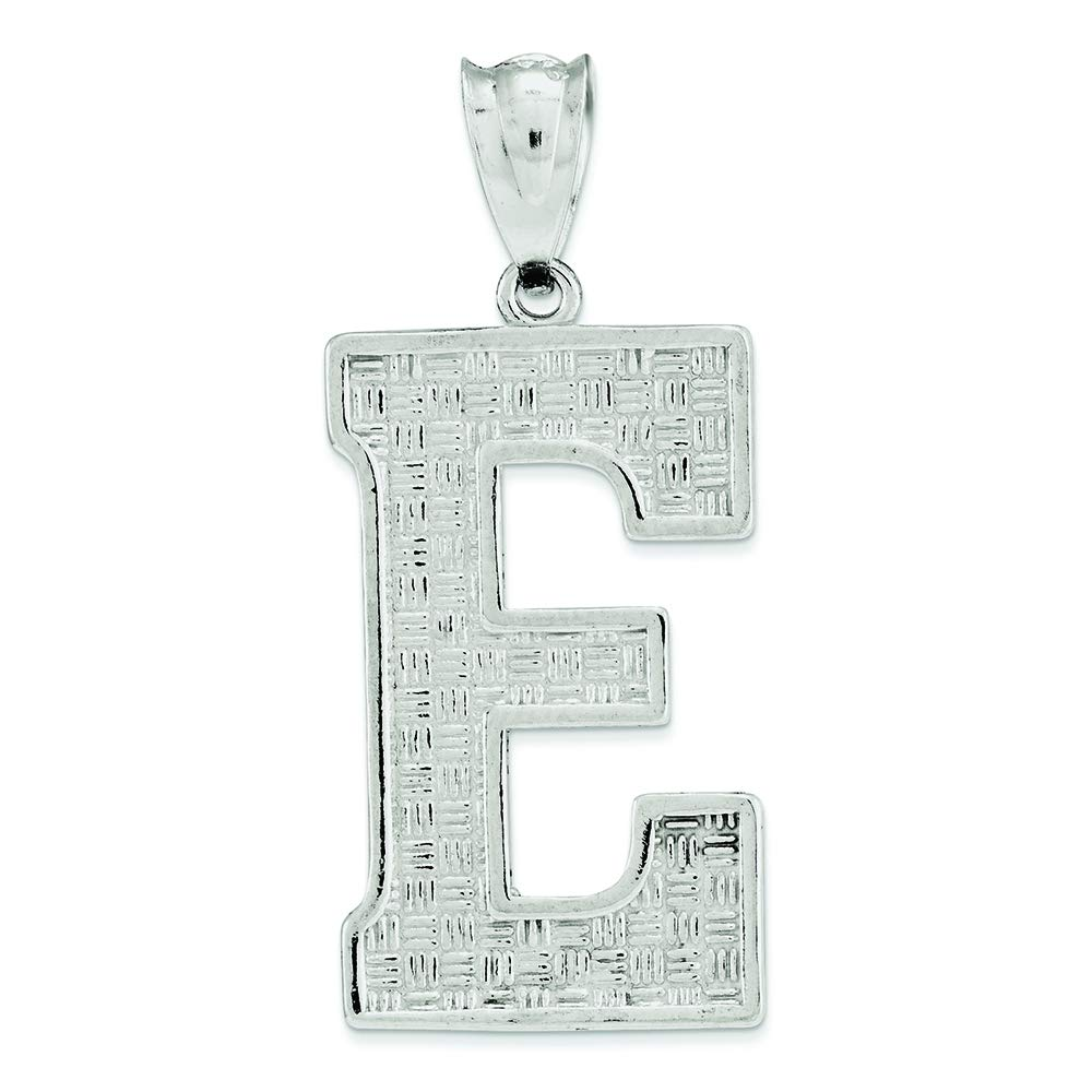 .925 Sterling Silver Initial E Charm Pendant