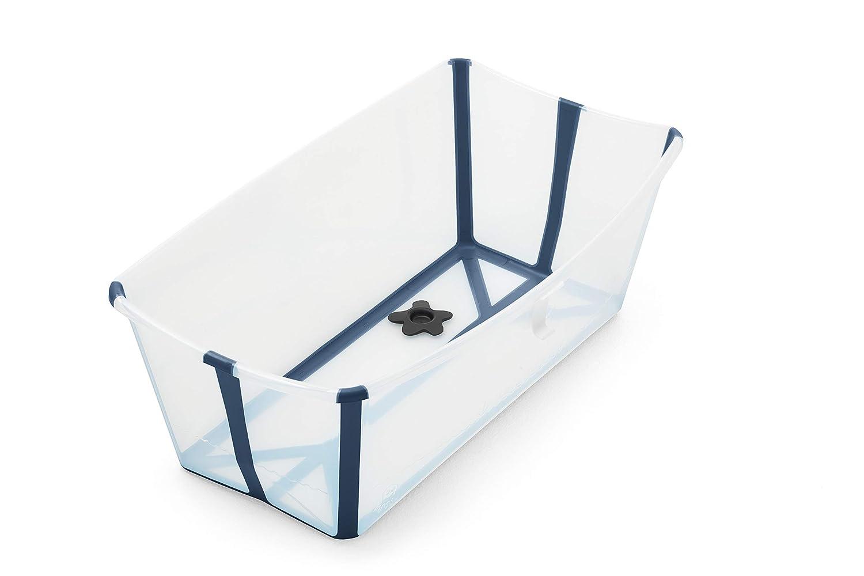 Color: Transparent Blue Ba/ñera para Beb/és Extremadamente Ligero y Colapsable Ni/ños Peque/ños y Ni/ños M/ás Soporte Adicional para Reci/én Nacidos Stokke Flexi Bath Bundle
