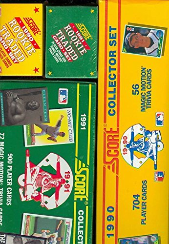Topps 1990 Baseball Traded (1990 1991 Score Baseball Card Complete set Collection Box Rookie And Traded FACT)