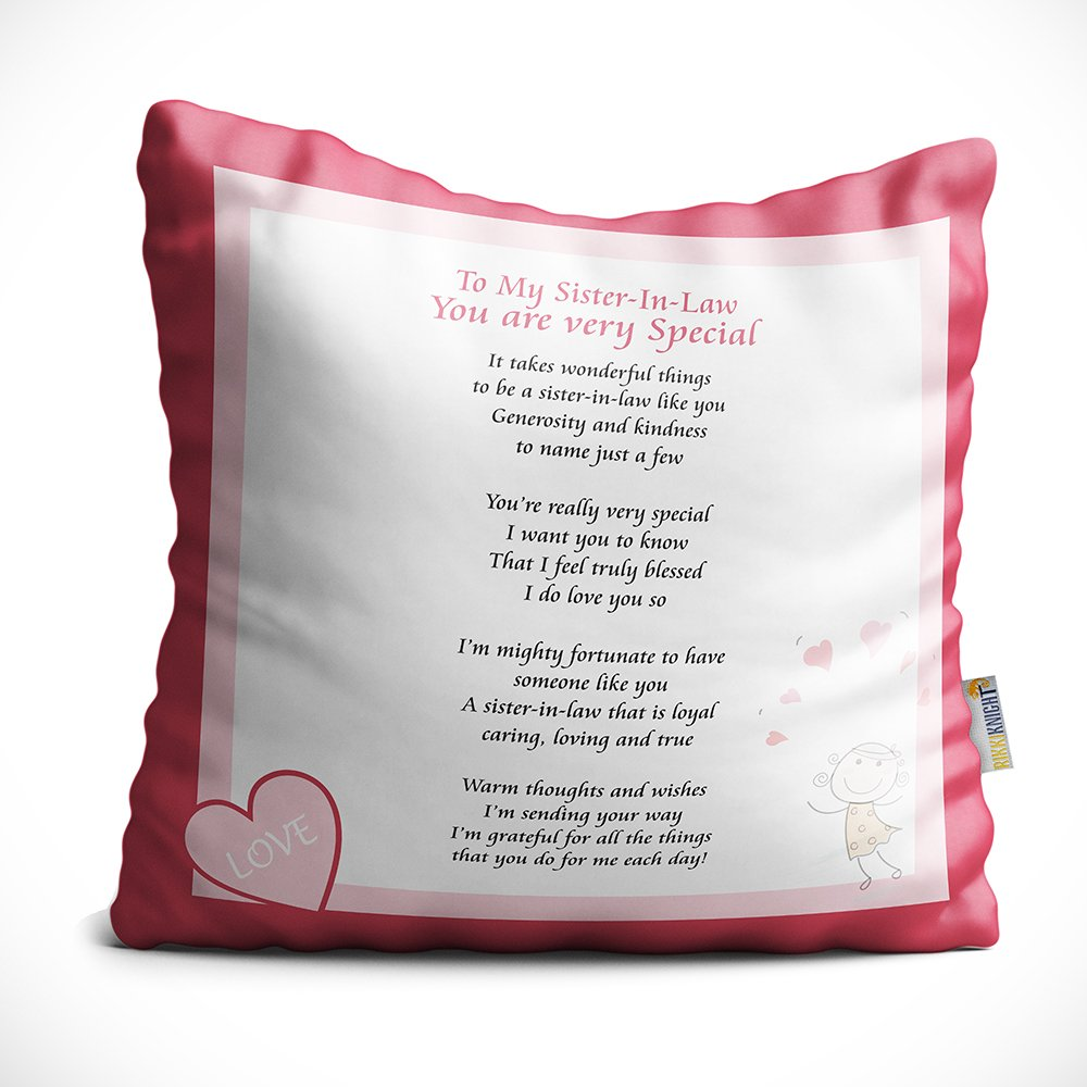Rikki Knight to My Sister-in-Law Cushion Throw Pillow, 16'', Cutepink