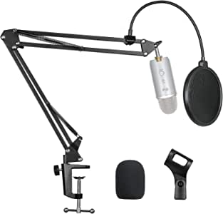 "Pipishell Microphone Suspension Scissor Boom Arm Stand with Pop Filter and Mic Holder, 5/8""Screw for Blue Yeti, Snowball, Spark, Yeti x and All Other Microphones"