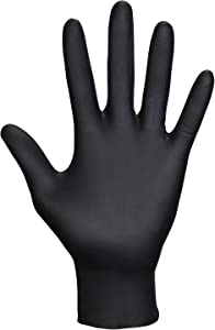 SAS Safety 66520 Raven Powder-Free Disposable Black Nitrile 6 Mil Gloves, Double-Extra Large, 100 Gloves by Weight
