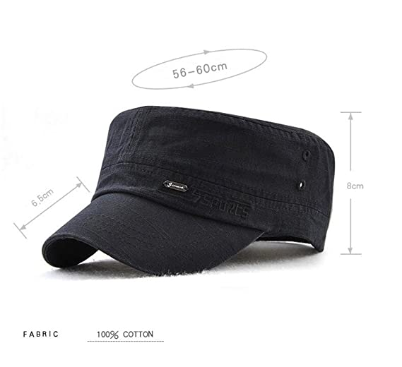 FOOKREN Men s 100% Cotton Army Cap Military Hats Adjustable Flat Top  Baseball Cap 56-60CM (Black)  Amazon.co.uk  Clothing 70209e690ad6