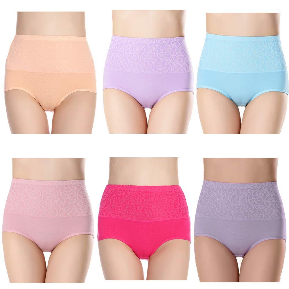 Fulyou Women's Briefs Underwear Tummy Control Cotton Panties High Waist Ladies Soft Stretch Underpants 6 Pack
