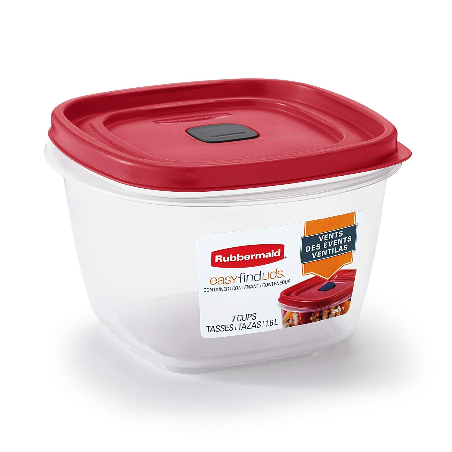 Rubbermaid 2030330 Easy Find Vented Lid Food Storage Containers, 7-Cup (3)