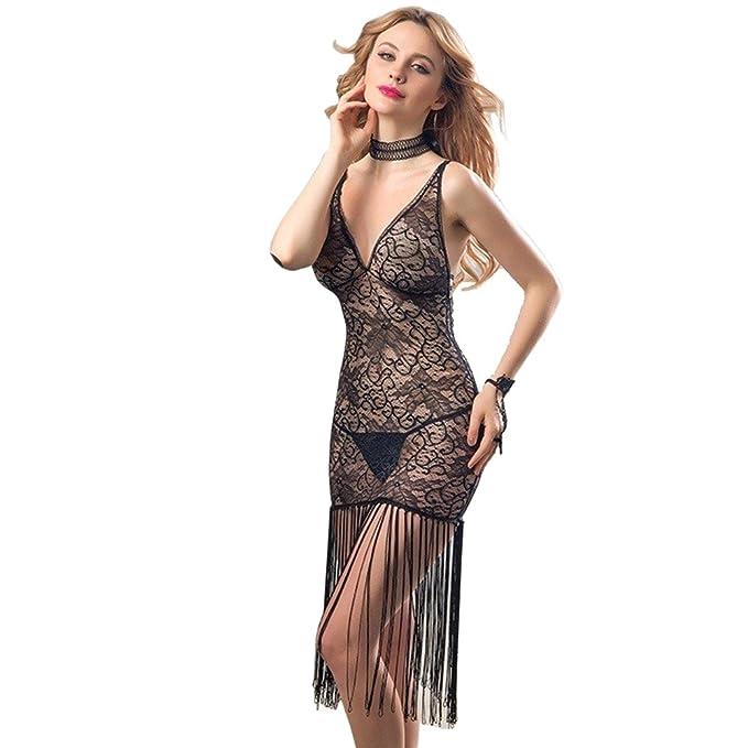 Just See You Mujeres Encaje Sexy Negro Pijamas Lencería Borlas Honda Vestido Perspectiva Ropa Interior Ropa