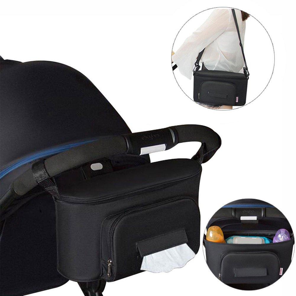Yuccer Universal Organizador Carrito para Beb/é Gran Capacidad Accesorios de Cochecito Negro Bolso Carro Bebe