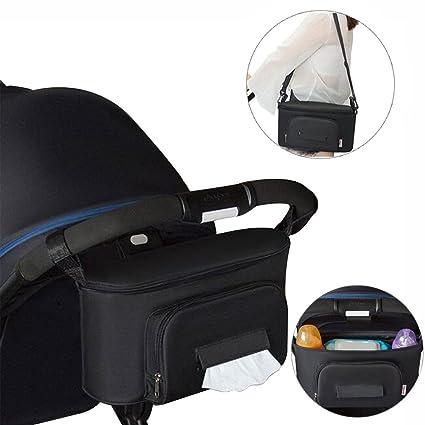 Bolso Carro Bebe, Yuccer Universal Organizador Carrito para Bebé Gran Capacidad Accesorios de Cochecito (Negro)