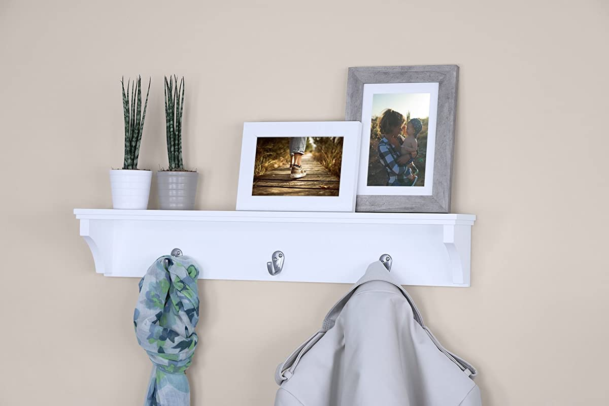 "Ballucci Coat and Hat Wall Mount Shelf Rack, 3 Metal Hooks, 24"", White"