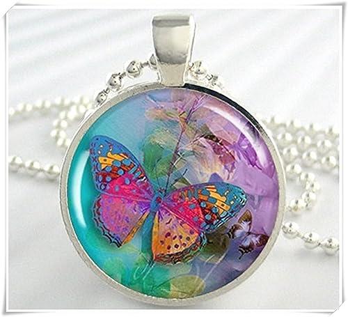 vasta selezione di f16cd f0e8a Immagine colorata farfalla collana con ciondolo in resina ...
