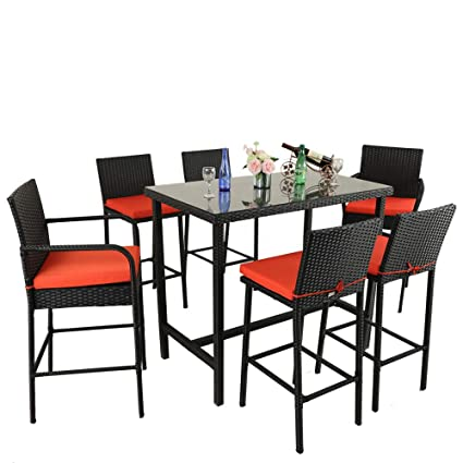 Surprising Leaptime Outdoor Dining Set 7Pcs Bar Table And Stools Patio Furniture Garden Dining Table Sets Lawn Furniture Deck Pool Stools Black Rattan Orange Onthecornerstone Fun Painted Chair Ideas Images Onthecornerstoneorg