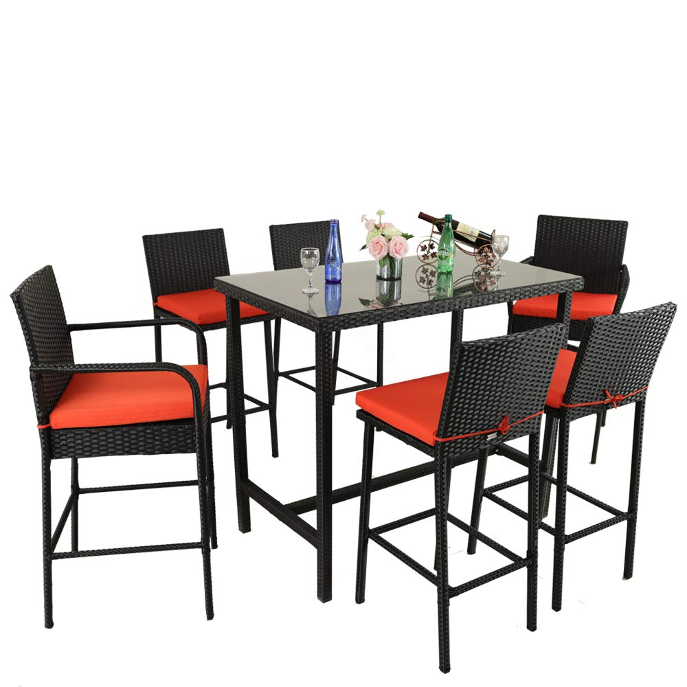 Leaptime Outdoor Dining Set 7pcs Bar Table and Stools Patio Furniture Garden Dining Table Sets Lawn Furniture Deck Pool Stools Black Rattan Orange Cushion