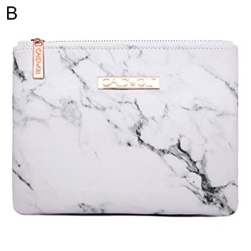 9a7fbb027cbc Amazon.com : gainvictorlf Portable Makeup Cosmetic Bag Marble ...