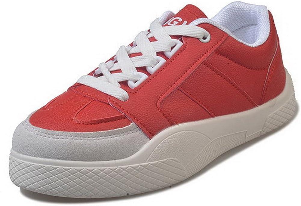 AalarDom Femme à Talon Bas PU Cuir Couleur Unie Lacet Chaussures Légeres Rouge