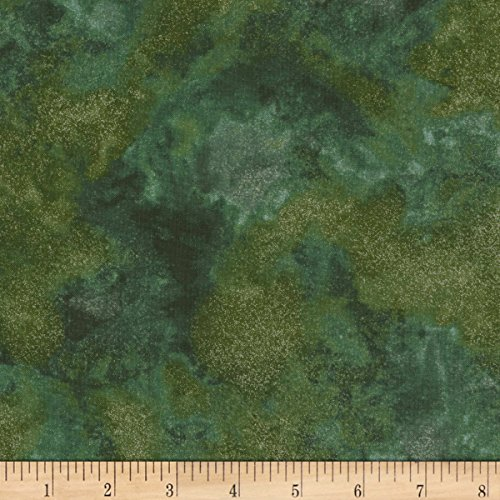 Timeless Treasures Christmas Morning Shimmer Metallic Blender Fern Fabric by The Yard