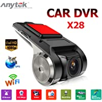 Anytek Dash Cam, X28 Full HD 1080p WiFi auto DVR G-Sensor Adas auto video registratore Dash camera