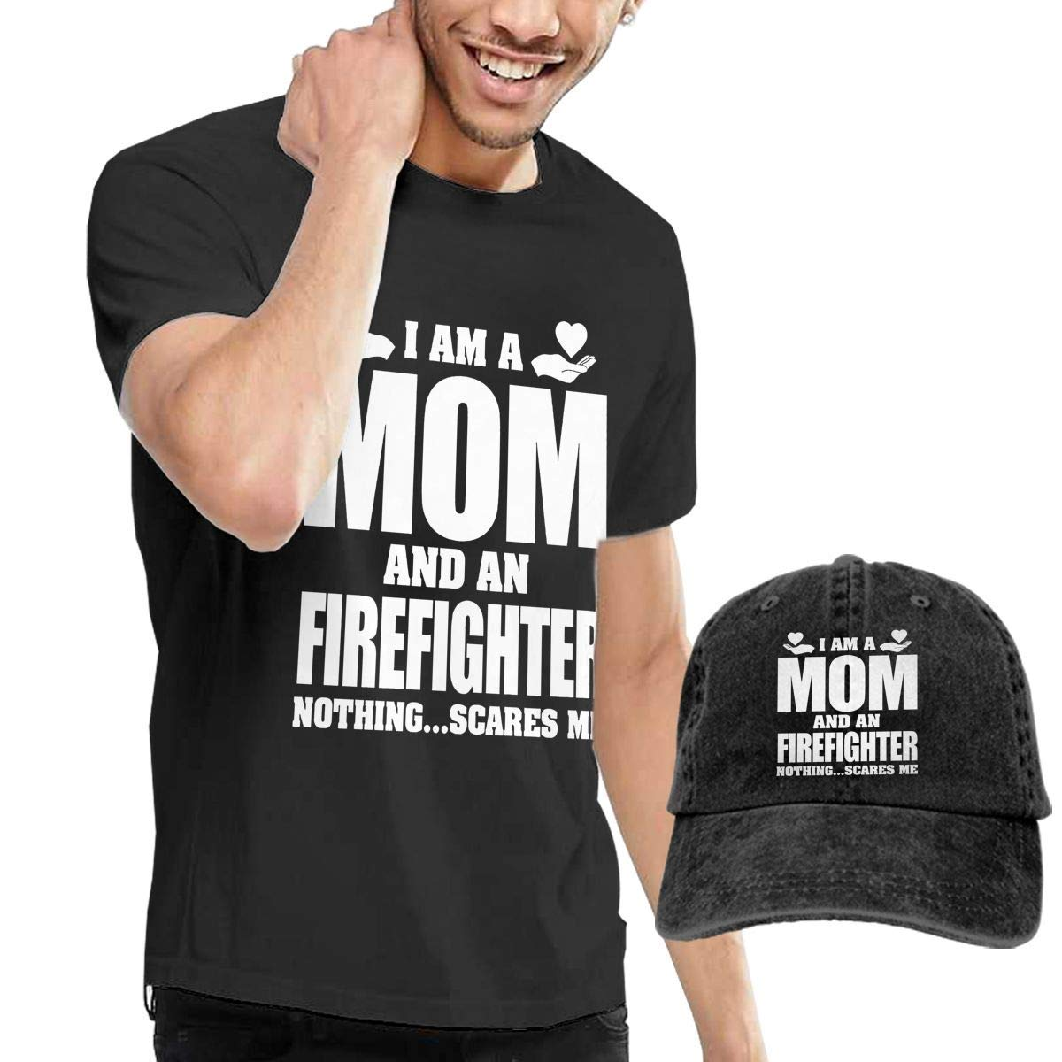 YLJIA I Am A Mom and Firefighter Mens Casual Short Sleeve Slim-Fit T-Shirt /& Baseball Caps Black 33