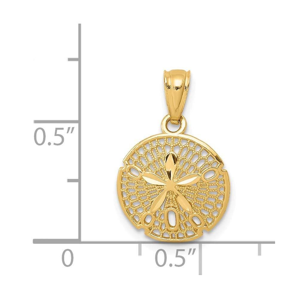 14K Yellow Gold Polished Filigree SDollar Pendant Solid Pendants /& Charms Jewelry
