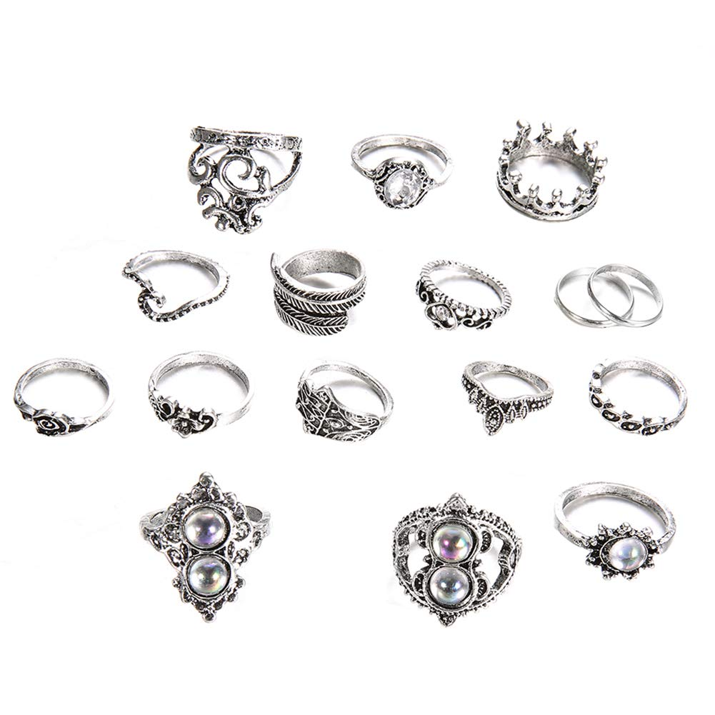 Slendima Clearance 16Pcs Retro Boho Hamsa Hand Crown Finger Midi Knuckle Stacking Rings Women Party Jewelry Antique Silver