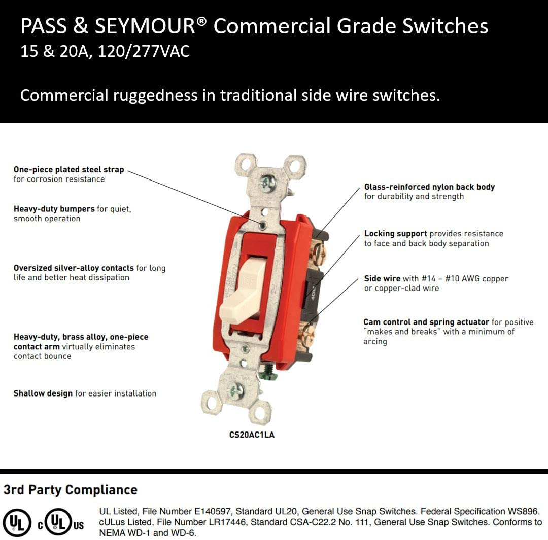 Legrand Pass /& Seymour PS30AC3ICC6 30-Amp 120-volt//277-volt Back and Side Wire Commercial Specification Grade Three Way Switch Pass /& Seymour//Legrand