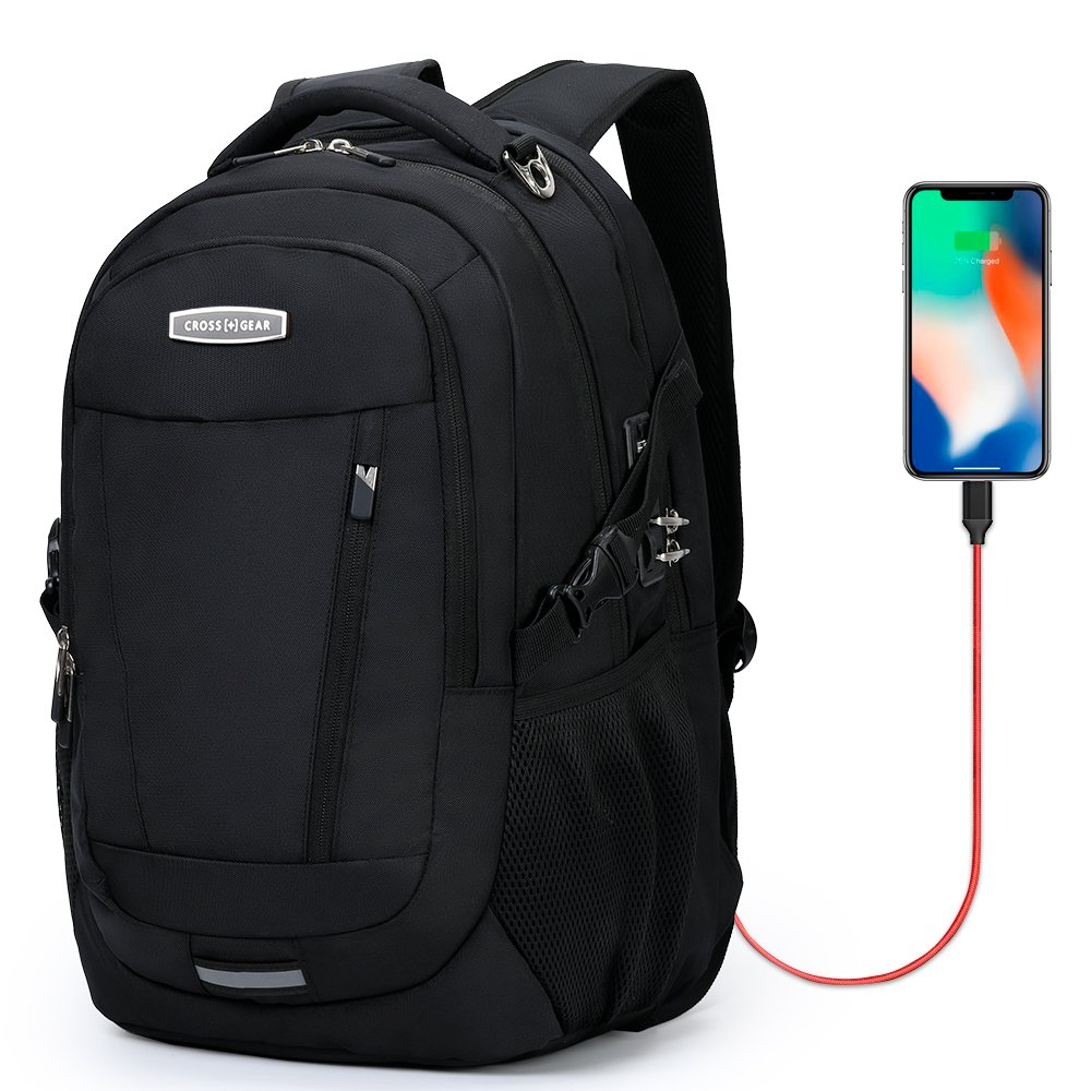 CrossGear Anti Theft Laptop Backpack for Men Business School Travel Computer Bag with USB Charging Port Fit 15.6 inch CR-9008IBK