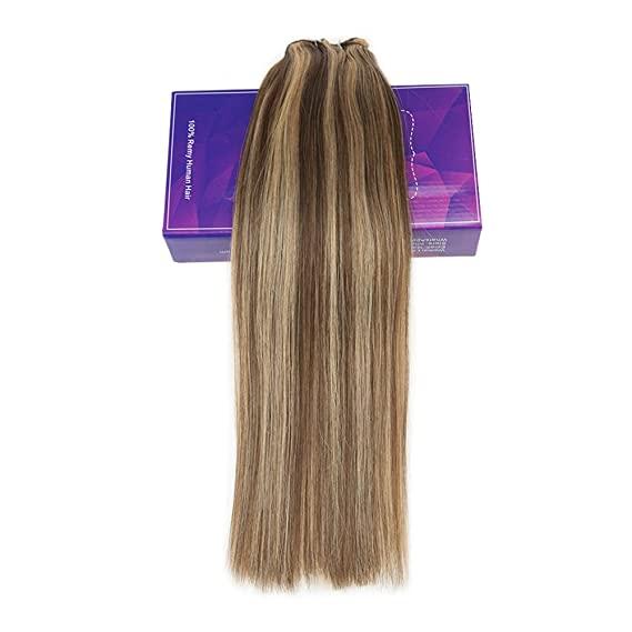 LaaVoo 16 Pulgadas Double Weft Cabello Humano Extensions Microbeads Secret EZE Weft Real Remy Hair Micro Rings Marron Oscuro a Caramelo Rubio 12