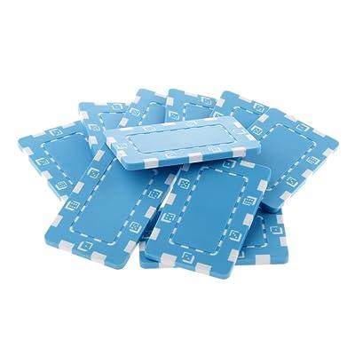 10pcs Juego de Mesa Fichas Rectángulas de Monedas Cerámica Casino Poker Texas Mahjong Chips Arte Bricolaje - Azul Claro: Juguetes y juegos
