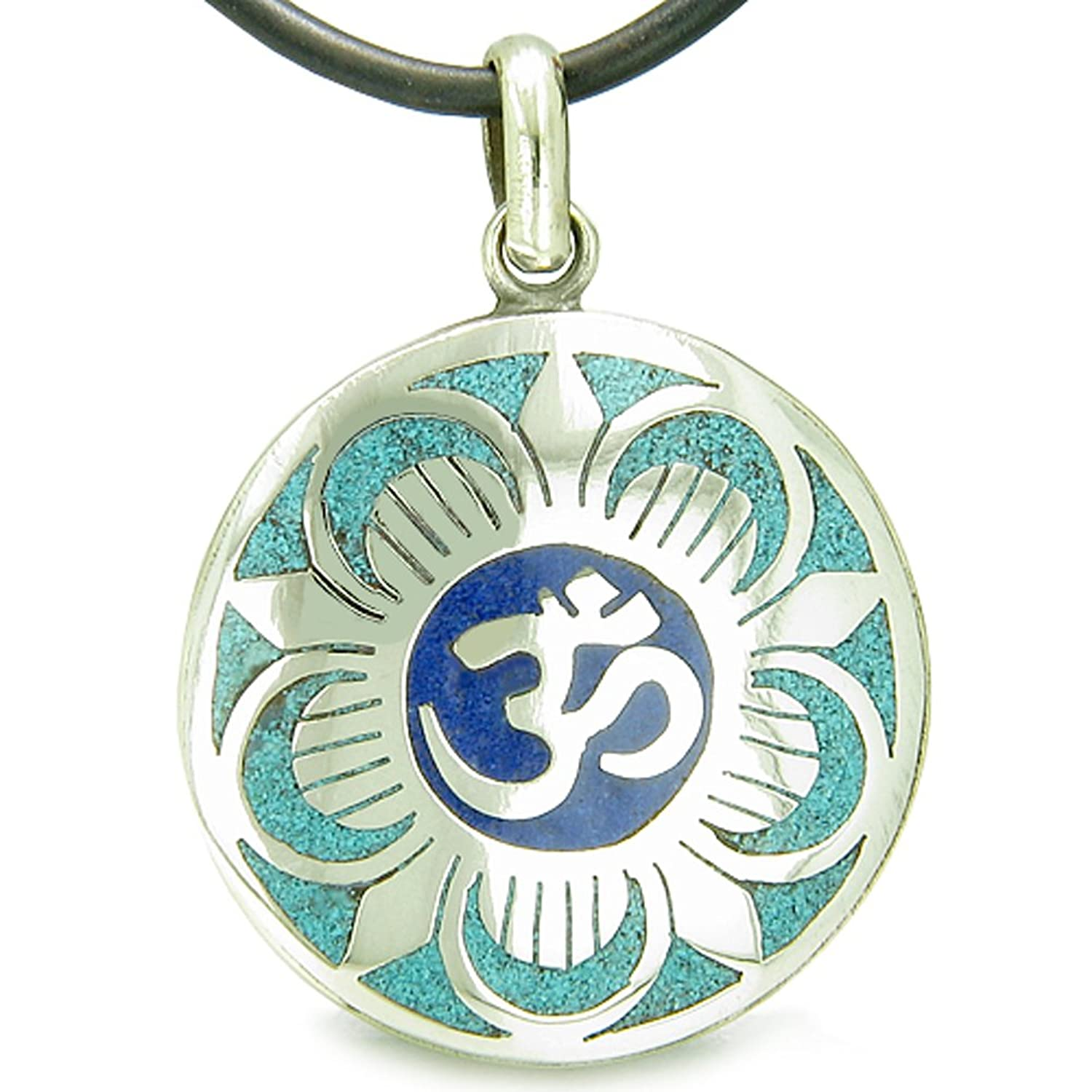 Amazon amulet ancient om and magic lotus tibetan symbol amazon amulet ancient om and magic lotus tibetan symbol mosaic medallion pendant on leather cord necklace jewelry biocorpaavc Gallery